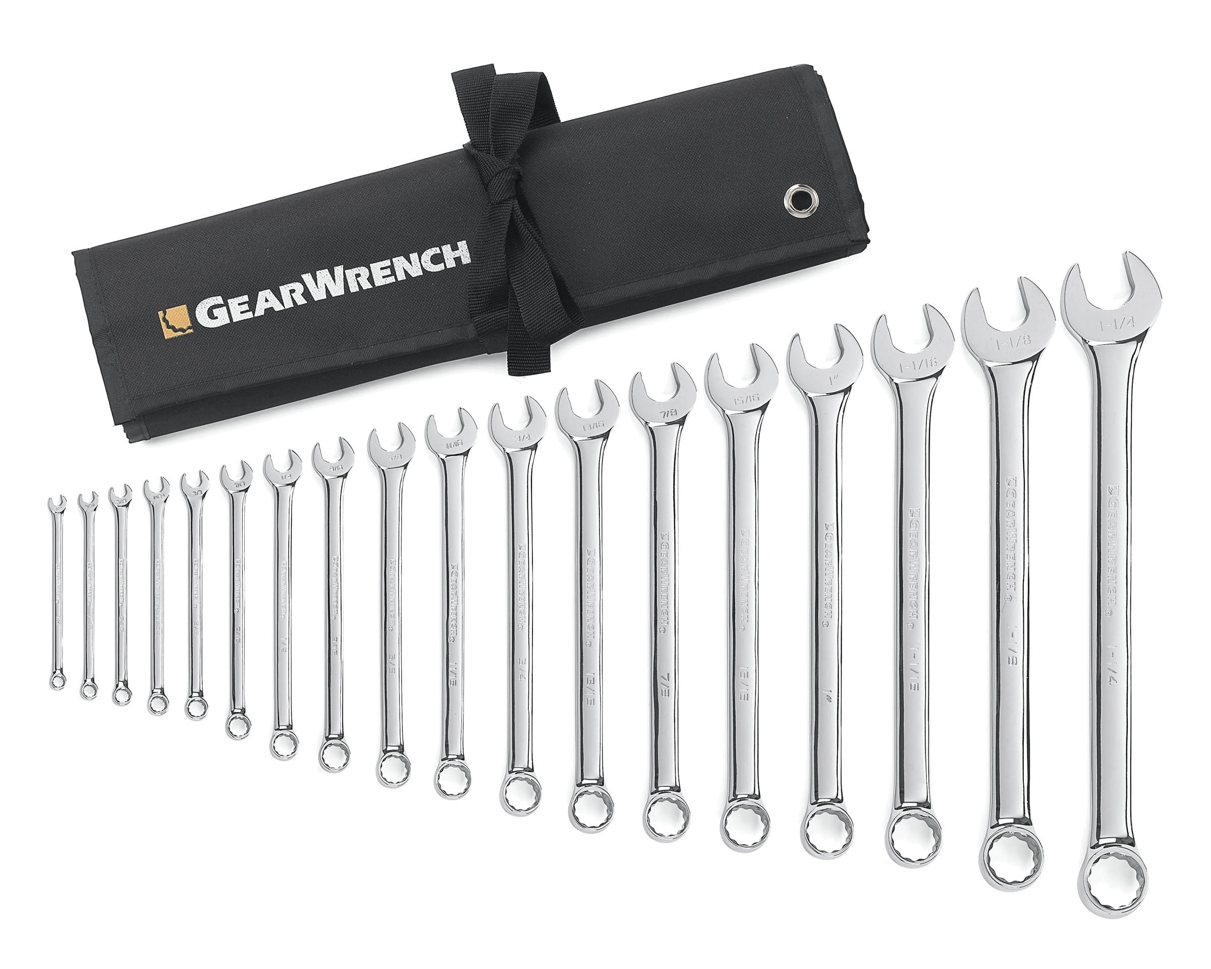 GEARWRENCH 18 Pc. 12 Point Long Pattern Combination SAE Wrench Set - 81917 by GearWrench