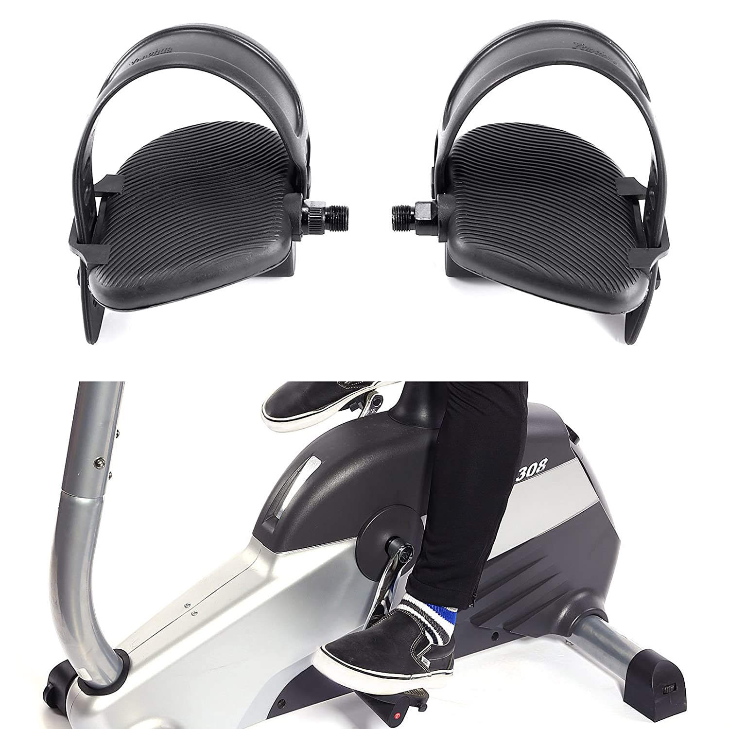 Hamimelon Pair Thread Generic Extra Large Exercise Bike Pedals and Pedal Strap Set Cycles Home Gym Bicycle