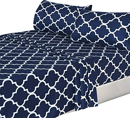 4 Piece Bed Sheets Set (Queen, Blue) Flat Sheet + Fitted Sheet +
