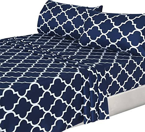 Delightful 4 Piece Bed Sheets Set (Queen, Navy) 1 Flat Sheet 1 Fitted Sheet