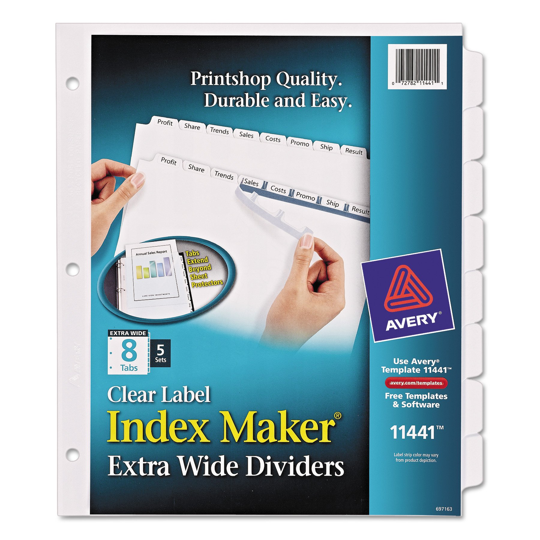 Avery Extra-Wide Dividers, Ink Jet Printer, White, 8-Tab, 9 x 11 Inches, 5 Sets (11441)