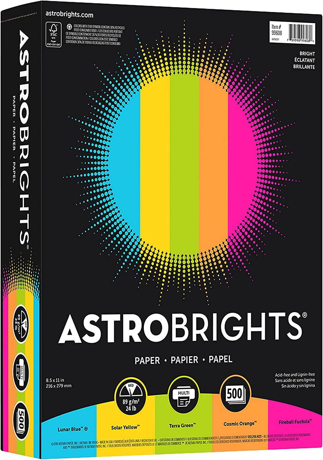 """Astrobrights Color Paper, 8.5"""" x 11"""", 24 lb/89 gsm, """"Brights"""" 5-Color Assortment, 500 Sheets (99608) : Office Products"""