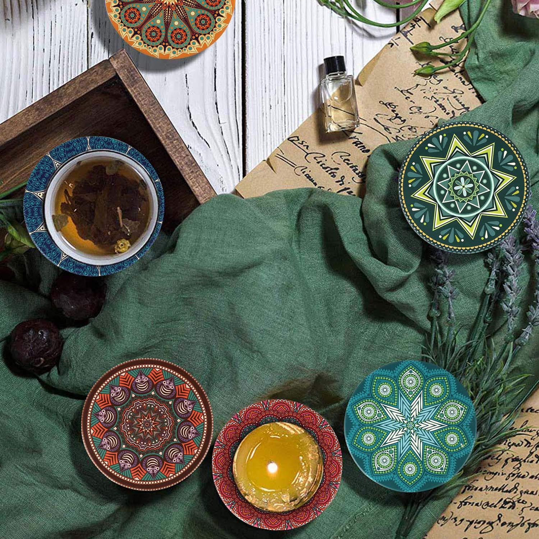 HAOCOO Lot de 6 Premium Design Dessous de Verre Soucoupe Caf/é Th/é Cadeau Verre Boho Orient Mandala