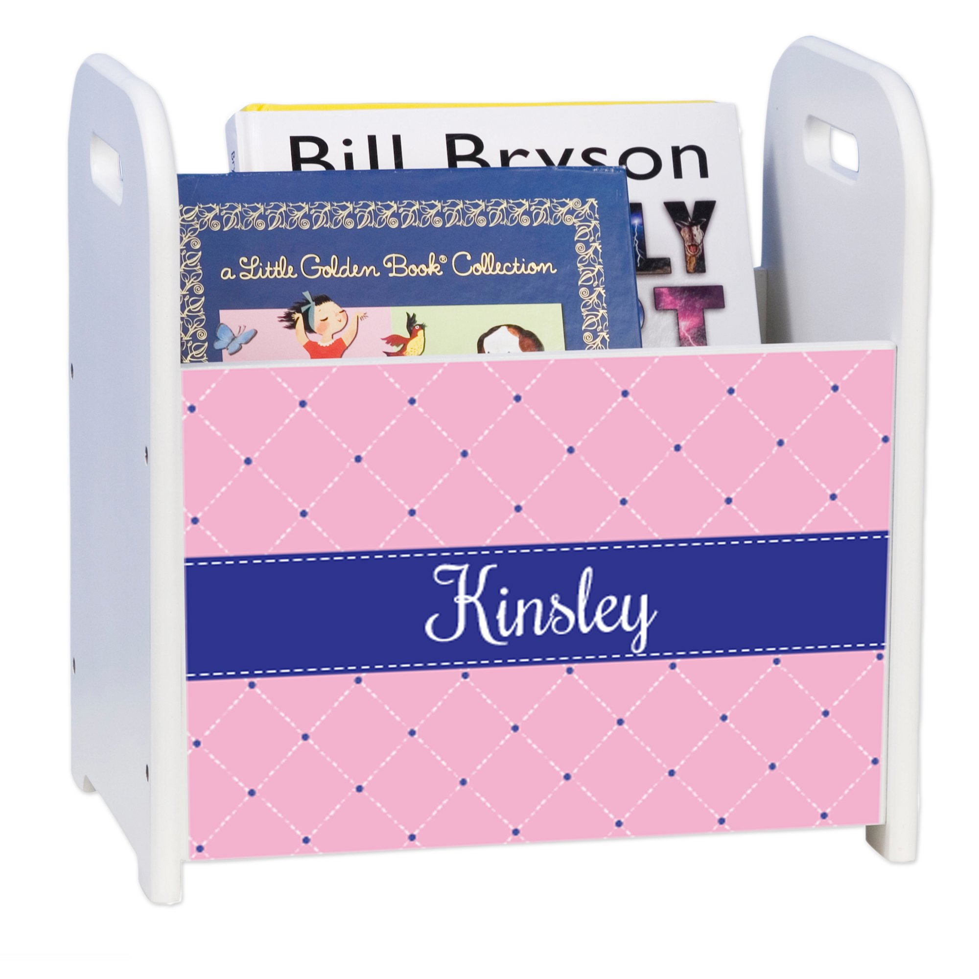 Personalized Quilting Pink with Navy White Book Caddy and Rack by MyBambino (Image #1)