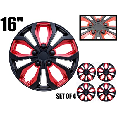 "16 inch Hubcaps Black & Red SPA 16"" Easy to Install (Set of 4) (Classic Black & Red, 16): Automotive"