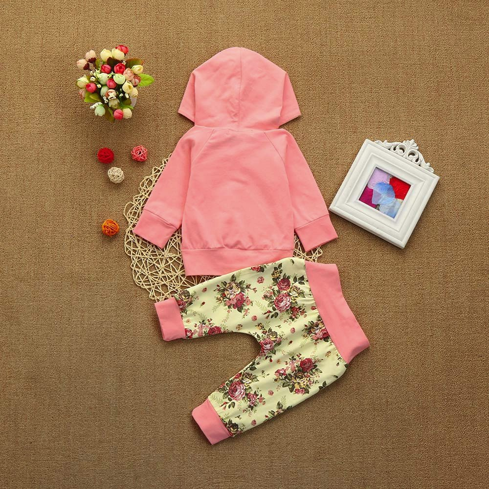 XUANOU 2PCs Baby Long Sleeve Floral Print Hooded Top Pants Two Piece Suit Toddler Girl Clothes Set Hoodie Tops Outfits