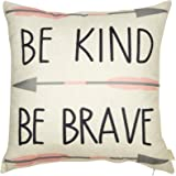 "Fjfz Cotton Linen Home Decorative Quote Words Throw Pillow Case Cushion Cover for Sofa Couch Tribal Girl Nursery Art, Be Kind Be Brave, 3 Arrows Pink and Grey, 18"" x 18"""