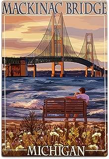 product image for Lantern Press Mackinac, Michigan, Mackinac Bridge and Sunset (12x18 Aluminum Wall Sign, Wall Decor Ready to Hang)