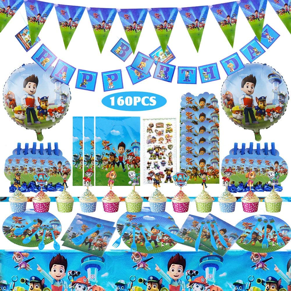 Amazon Com 160 Pieces Paw Patrol Party Supplies Birthday Decorations Party Favors For 10 Guests With Paw Patrol Balloon Plates Invitation Cards Birthday Banner Napkins Tablecloth Blowouts Party Gift Bags Stickers Toys Games