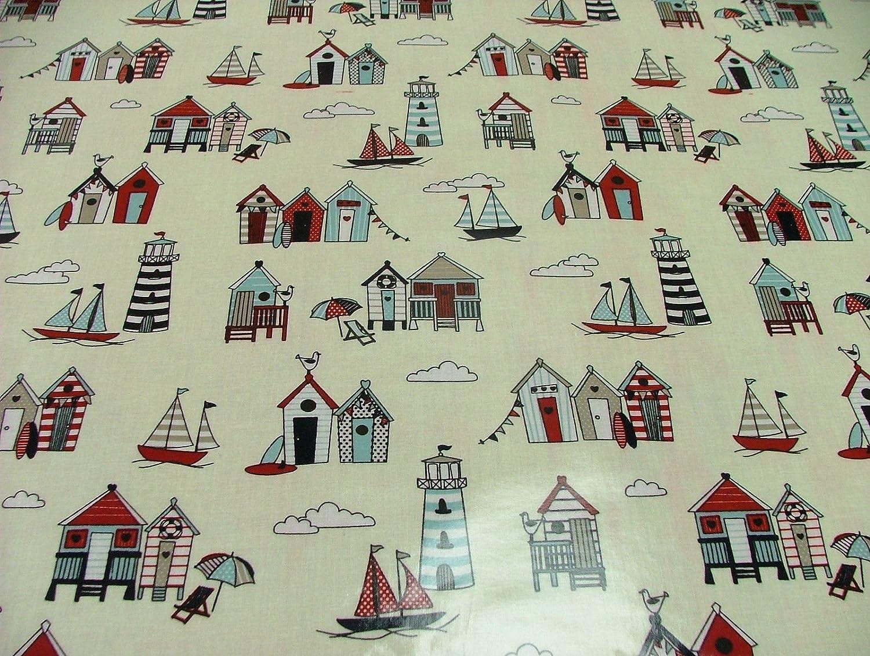 Happy Days náutico de casetas de playa tela de vinilo PVC limpiar mantel de hule mesa de cocina (180 cm (71