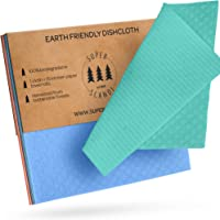 SUPERSCANDI Large Reusable Washable Paper Towel Replacement Cloths *€* 3 Pack Blue and Green