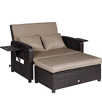 Swell Amazon Com Homevibes 2 Pieces Patio Wicker Love Seat Sofa Dailytribune Chair Design For Home Dailytribuneorg