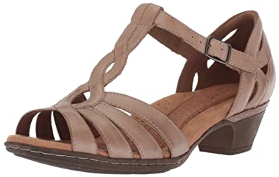 Cobb Hill Women's Abbott Curvy T Sandal, Khaki Leather, ...
