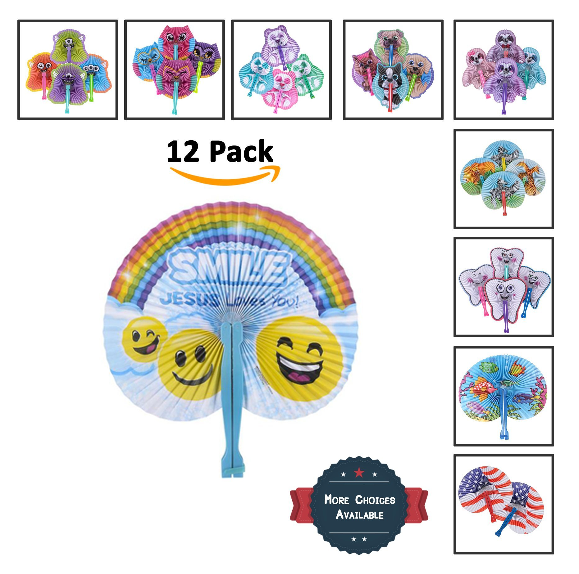 Bargain World 10'' Religious Jesus Folding Fans [12-Pack] | Fun & Exciting Hand Fans For Kids & Teenagers From Our Huge Collection | Sticky Notes Included