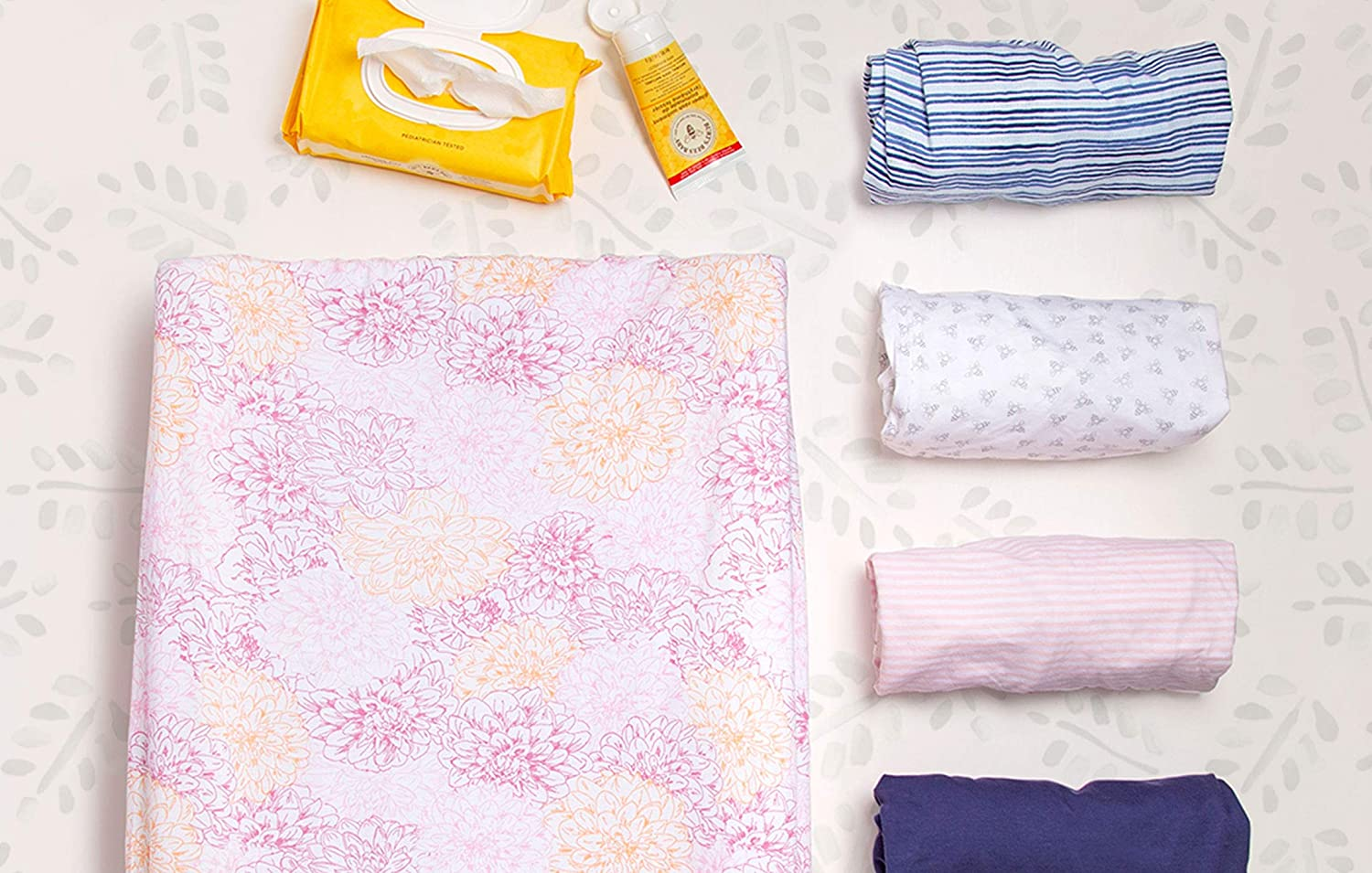 100/% Organic Cotton Changing Pad Liner for Standard 16 x 32 Inch Baby Changing Mats Changing Pad Cover Burts Bees Baby Blossom Bold Stripe