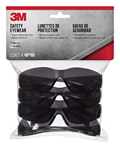 3M 90835 Outdoor Safety Eyewear, Black Frame, Gray Scratch Resistant Lenses (4 Pack)