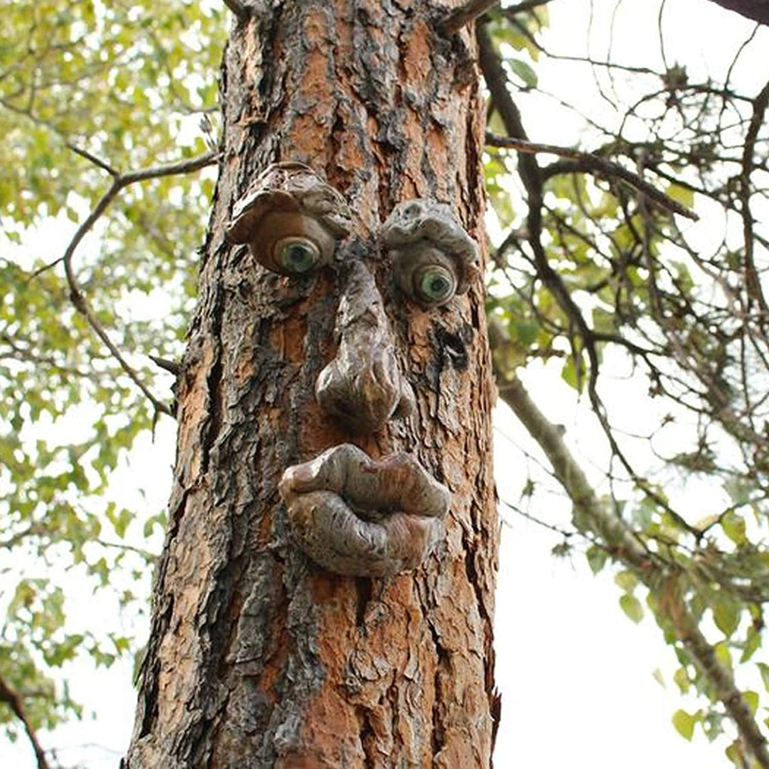TOTAMALA Easter Tree Monsters Outdoor Bark Ghost Face Tree Faces Decor Glow Eyes in Dark Fun Old Man Tree Sculpture Outdoor Yard Art Garden Decorations (A)