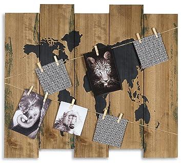 Levandeo Wandbild Weltkarte B X H X T 60x53x2cm Holz Braun 10