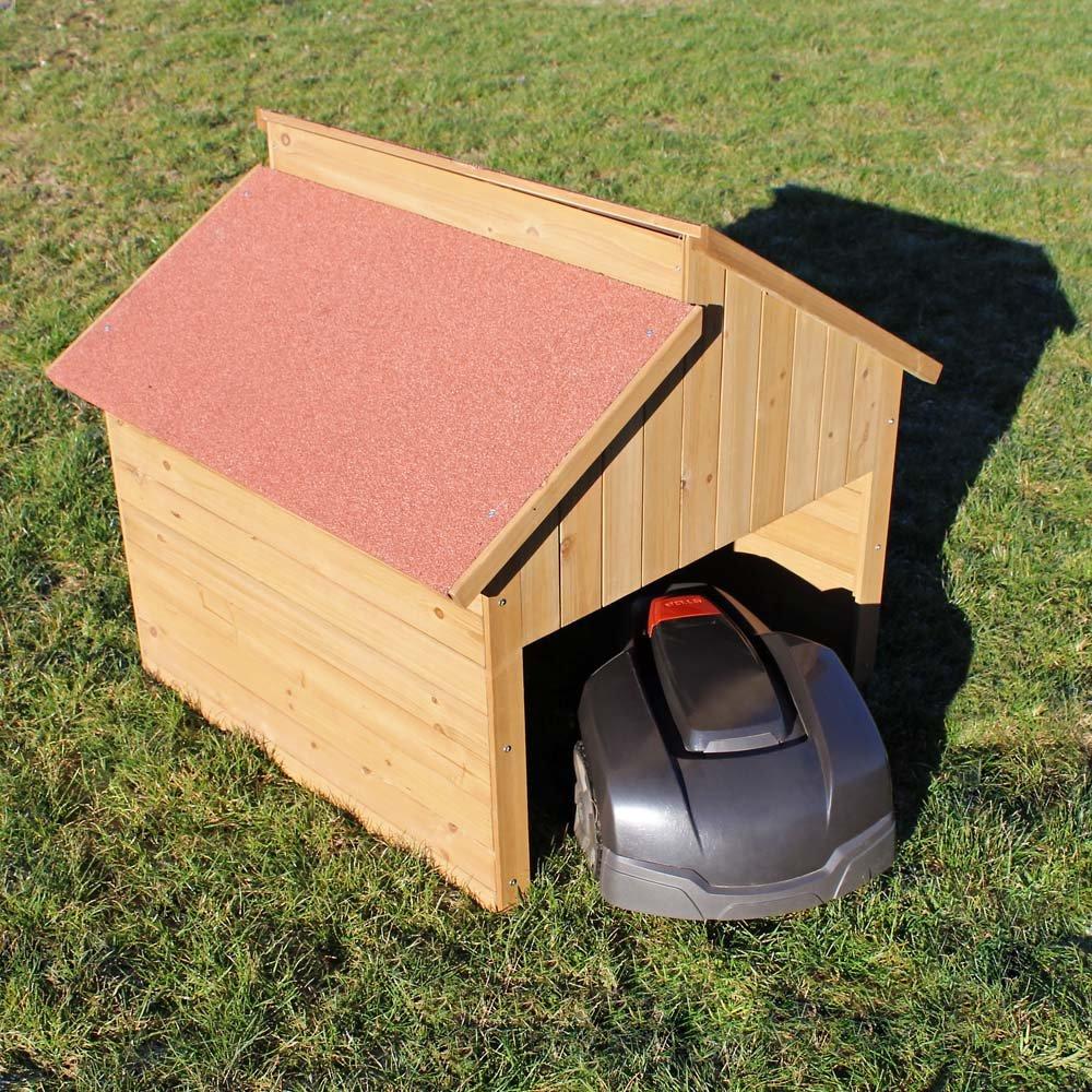 Caseta garaje de madera para robots cortacéspedes segadoras automower