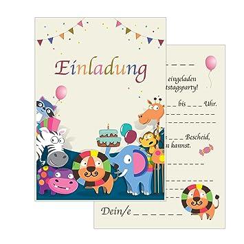 The Lazy Panda Card Company 15 Einladungskarten Kindergeburtstag Tiere  Safari Geburtstagseinladungen Einladungen Geburtstag Kinder Jungen Mädchen