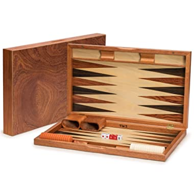 Yellow Mountain Imports Rosewood Backgammon Game Set (19 inches) - Wood Inlay Board and Accessories - Acryllic Playing Pieces - Shiny Rosewood Veneer Exterior - Large Set