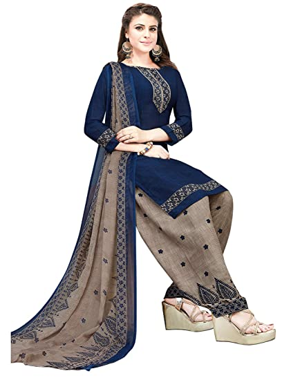Ishin Synthetic Blue  amp; Grey Printed Women's Unstitched Salwar Suits dress material with Dupatta Dress Material