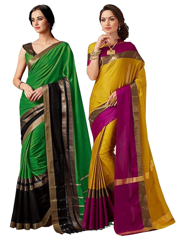 ELINA FASHION Pack of Two Sarees for Indian Women Cotton Art Silk Printed Weaving Border Saree || Sari Combo (Multi 13)