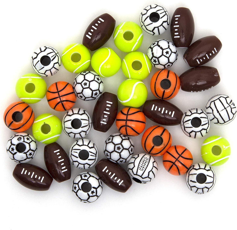 Sports Pony Beads Football Baseball Soccer Basketball Single Sport or Assortment