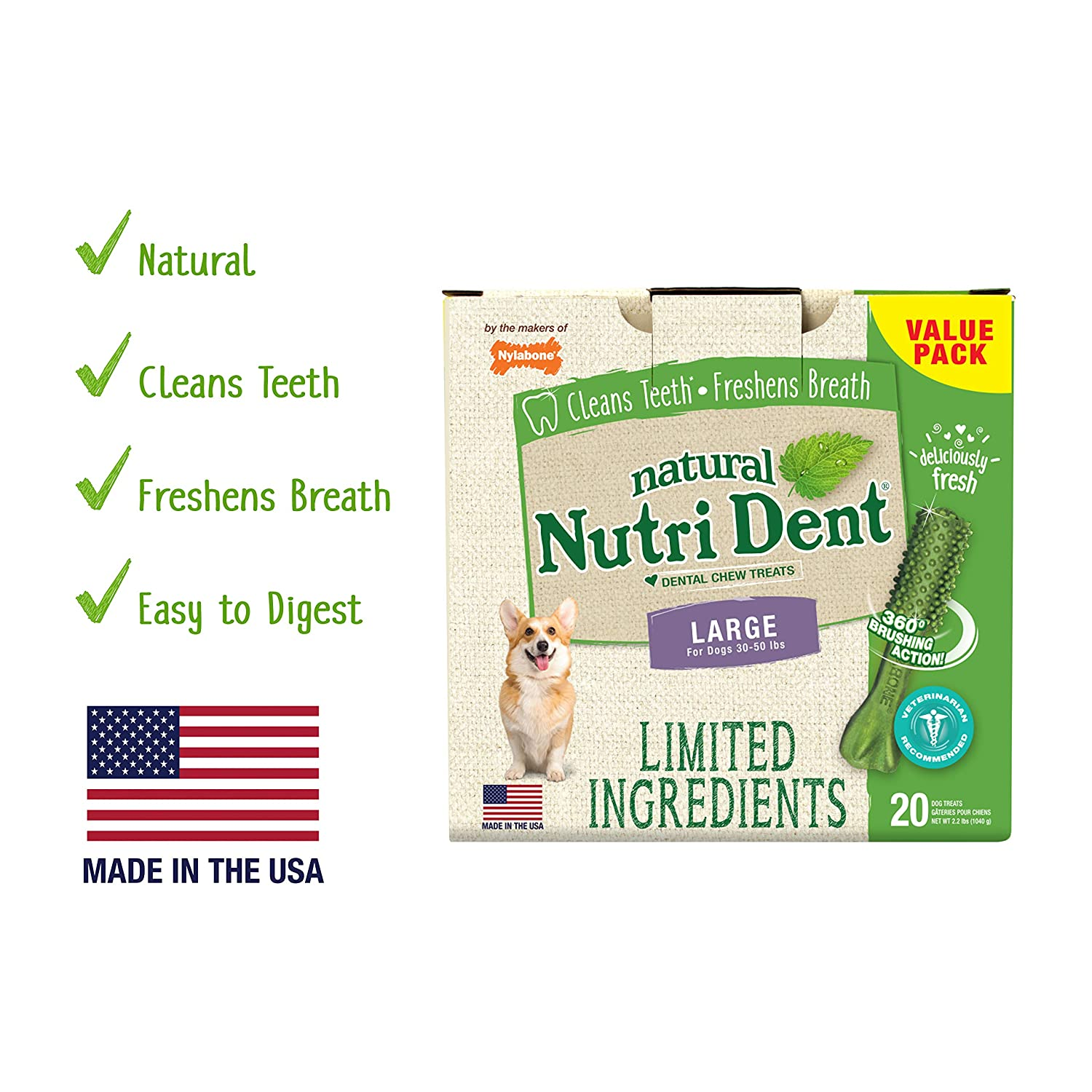 20 Ct Nutri Dent Limited Ingredient Dental Dog Chews   Large Size   Filet Mignon Or Fresh Breath Flavors