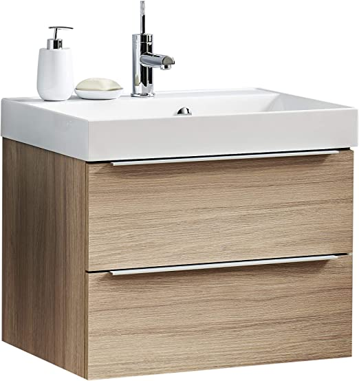 Badmöbel Set 2 Schränke hängend Schubladen Unterschrank Weiß  Waschbecken