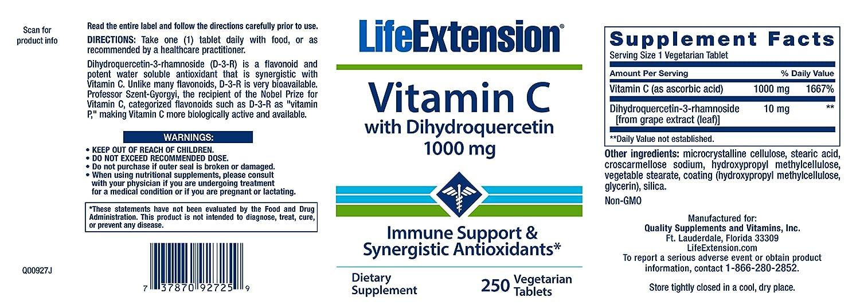 La vitamina C, con dihydroquercetin, 1000 mg, comprimidos de 250 Veggie - Extensión de la Vida: Amazon.es: Salud y cuidado personal