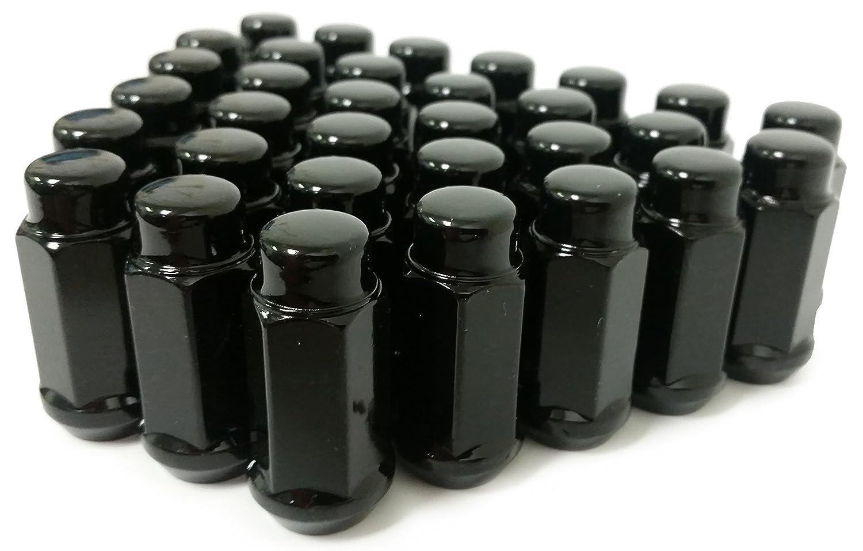 """Set of 24 9//16-18 Thread Black Bulge Acorn XL 1.9/"""" Tall Steel Lug Nut"""
