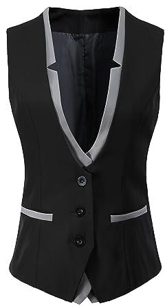 Vocni Women V Neck Slim Fit Business Office Bottoned Dressy Suit