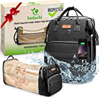 Sudachi Diaper Bag Backpack and Travel Baby Bassinet with Waterproof Changing Pad, 3 Insulated Bottle Pockets, USB Port…