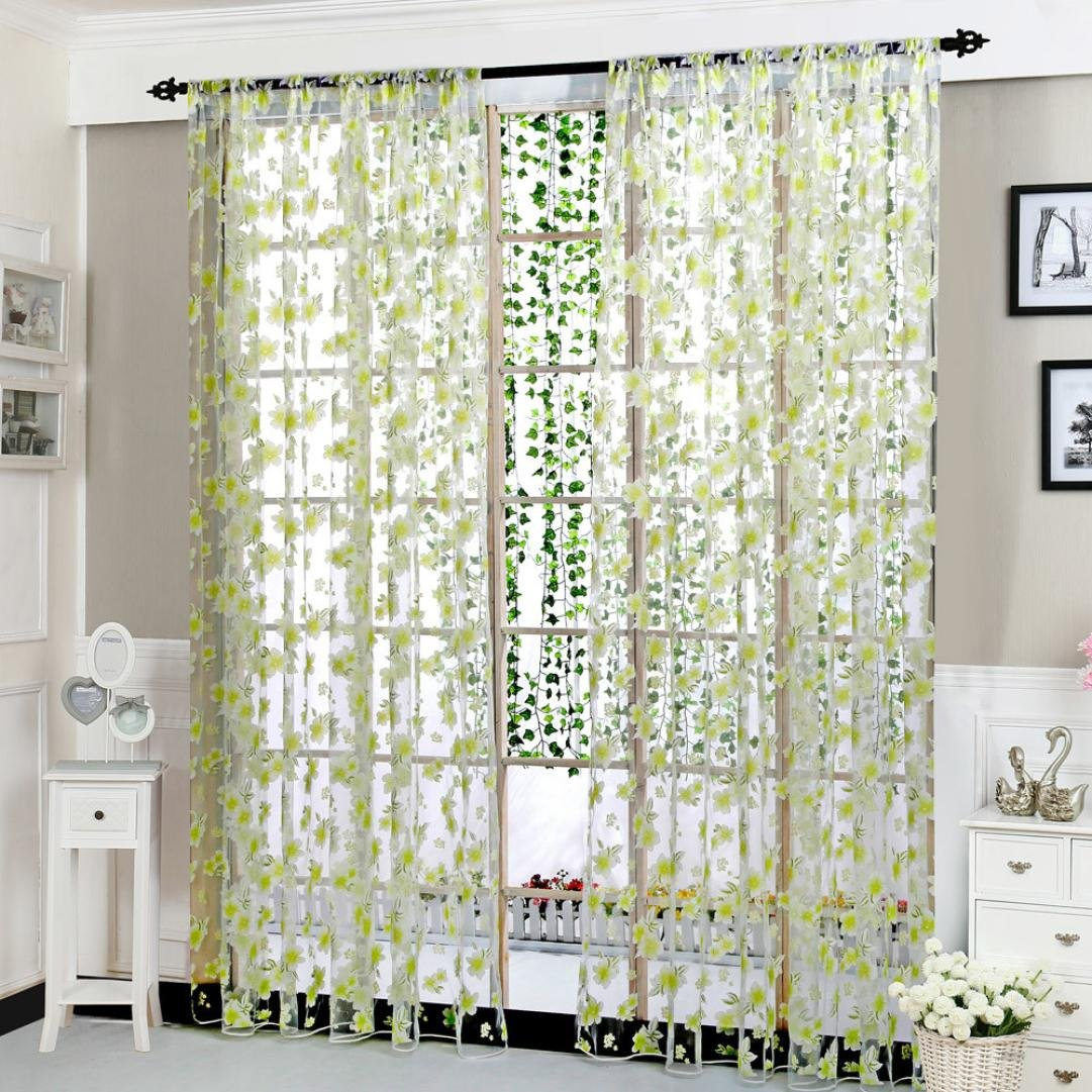 Paymenow Clearance Home Deco Curtain 1 Panel Flower Leaf Sheer Curtain Tulle Window Bedroom Bathroom Living Room Treatment Voile Drape Valance (78.74'' x 39.37'', Green)