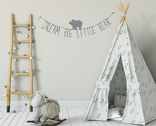 Dream Big Little Bear Wall stickers, Grey, boho vinyl wall decal ...