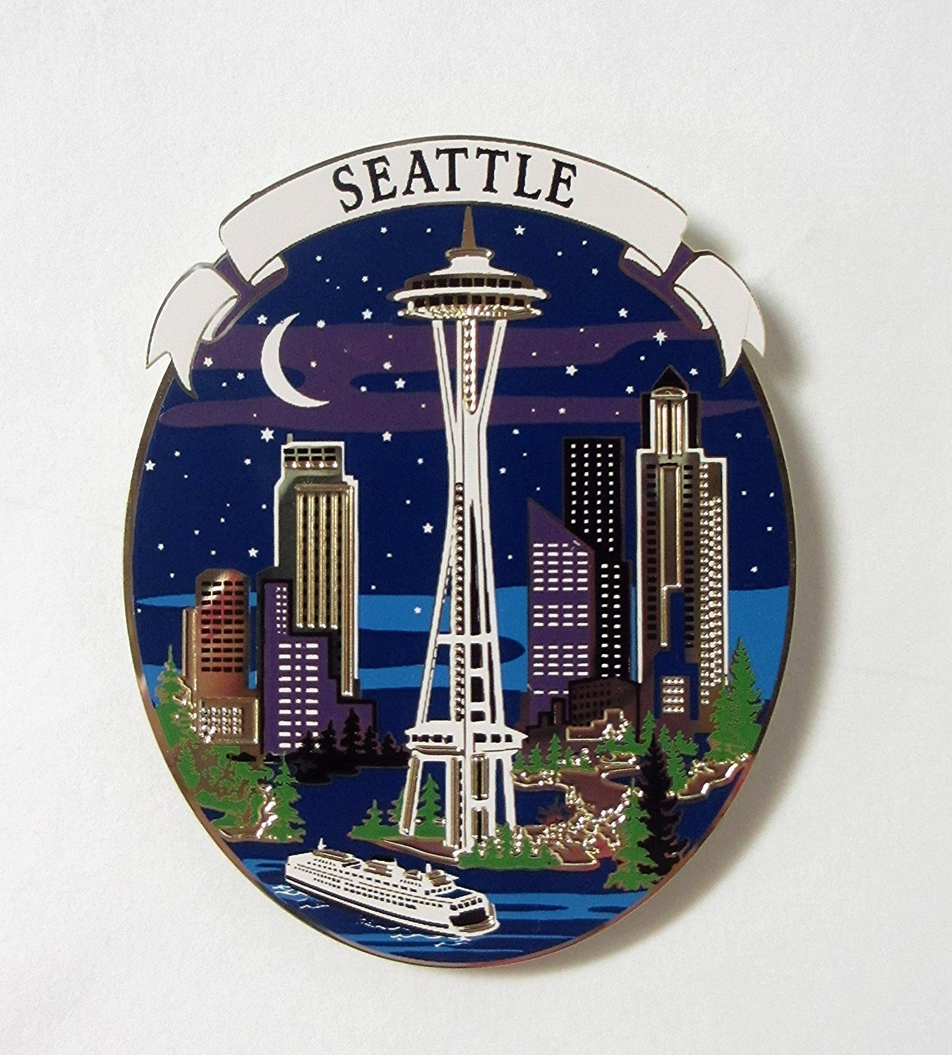 Seattle Magnet Souvenir City Skyline at Night Space Needle Waterfront Ferry Ship