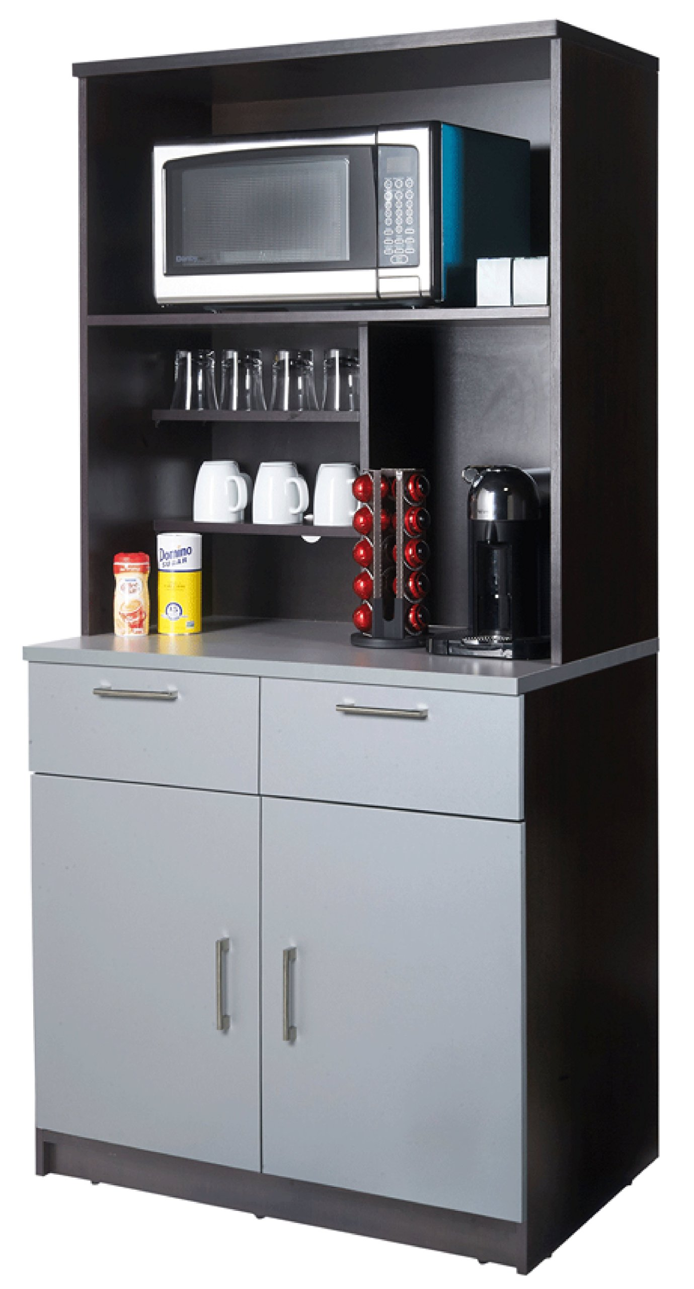 Coffee Kitchen Lunch Break Room Cabinets Model 4231 BREAKTIME 2 Piece Group Color Espresso/Silver Metalic - Factory Assembled (NOT RTA) Furniture Items ONLY. by Breaktime