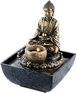Infactory Springbrunnen Beleuchteter Zimmerbrunnen Mit Buddha LED