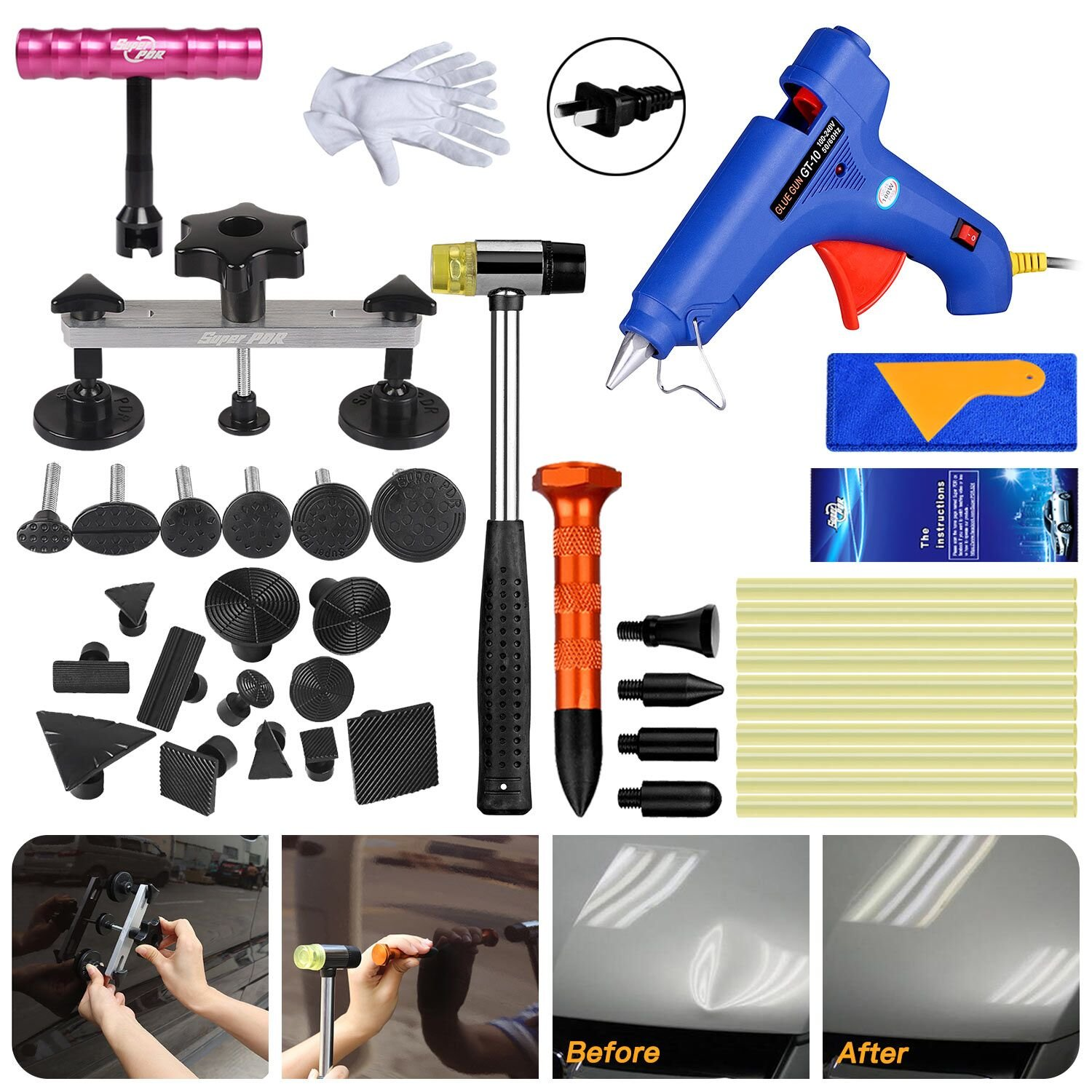 FLY5D 45Pcs DIY Car Paintless Dent Glue Puller Removal Tool Kits for Car Door Ding Repair Power Hand Tools
