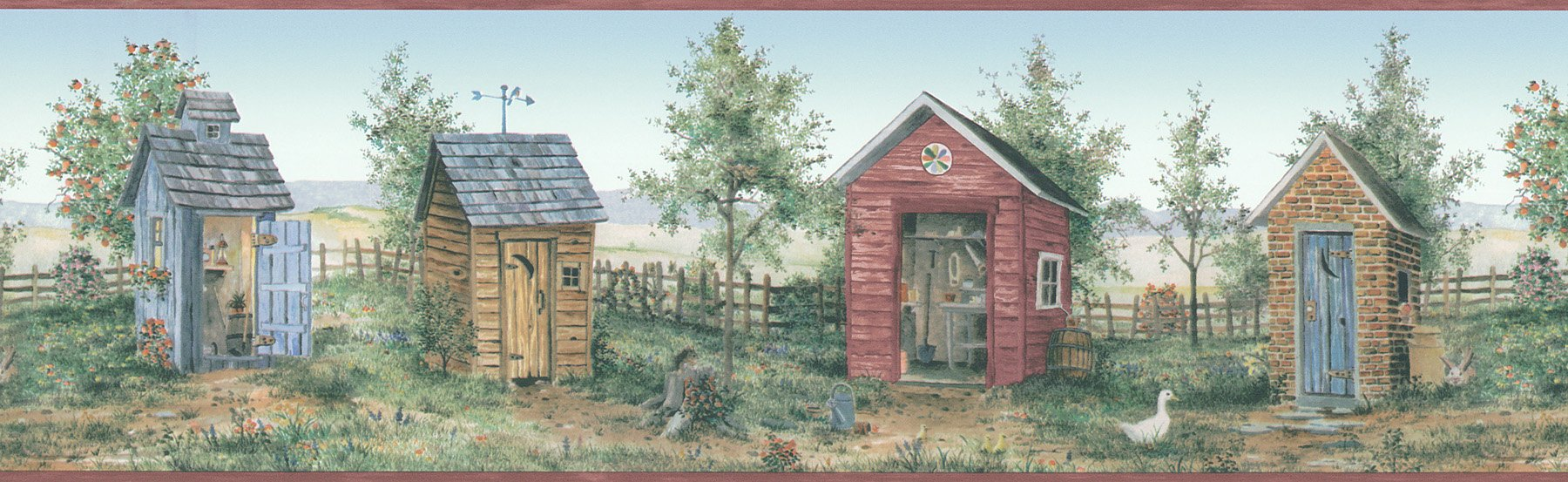 Brewster 418B056 For Your American Home Backyard Country Scenic Wall Border, 6.875-Inch by 180-Inch