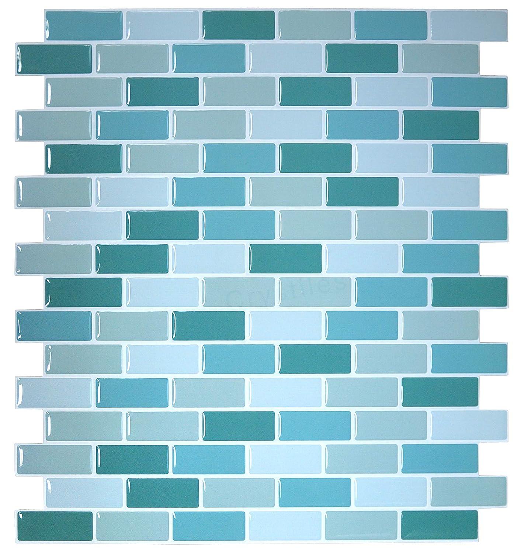 "Item# 91010832 10/"" X 10/"" Crystiles Peel and Stick Self-Adhesive Vinyl Wall Tiles 1 Sheet Sample"