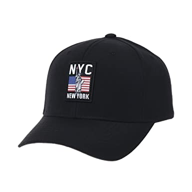 WITHMOONS Baseball Cap New York City US Flag Patch Simple Plain Ball Cap  for Men Women dd5fb5187