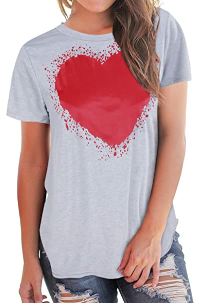 54fd4bd1 Women's Graphic Summer T Shirt Heart Printed Short Sleeve Tops Valentine's  Day Girls ...