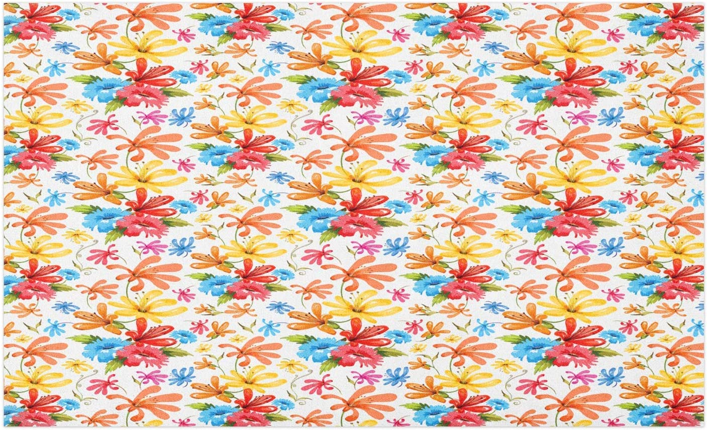 """GugeABCmat Kids Floor Mats,Nursery Cartoon Abstract Coral Reef with Silhouette Animals Seashell and Starfish,Modern Kitchen Rug 42"""" W X 36"""" L,Multicolor"""