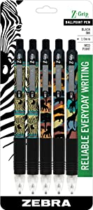 Zebra Pen Z-Grip Safari Retractable Ballpoint Pen, Medium Point, 1.0mm, Assorted Colors, 5-Count