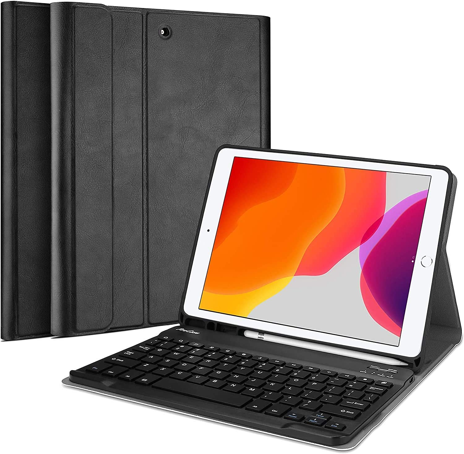 ProCase New iPad 10.2 8th 7th Generation 2020 2019 Keyboard Case, Slim Leather Folio Smart Cover with Magnetically Detachable Wireless Keyboard for 10.2 inch iPad 8 / iPad 7 -Black