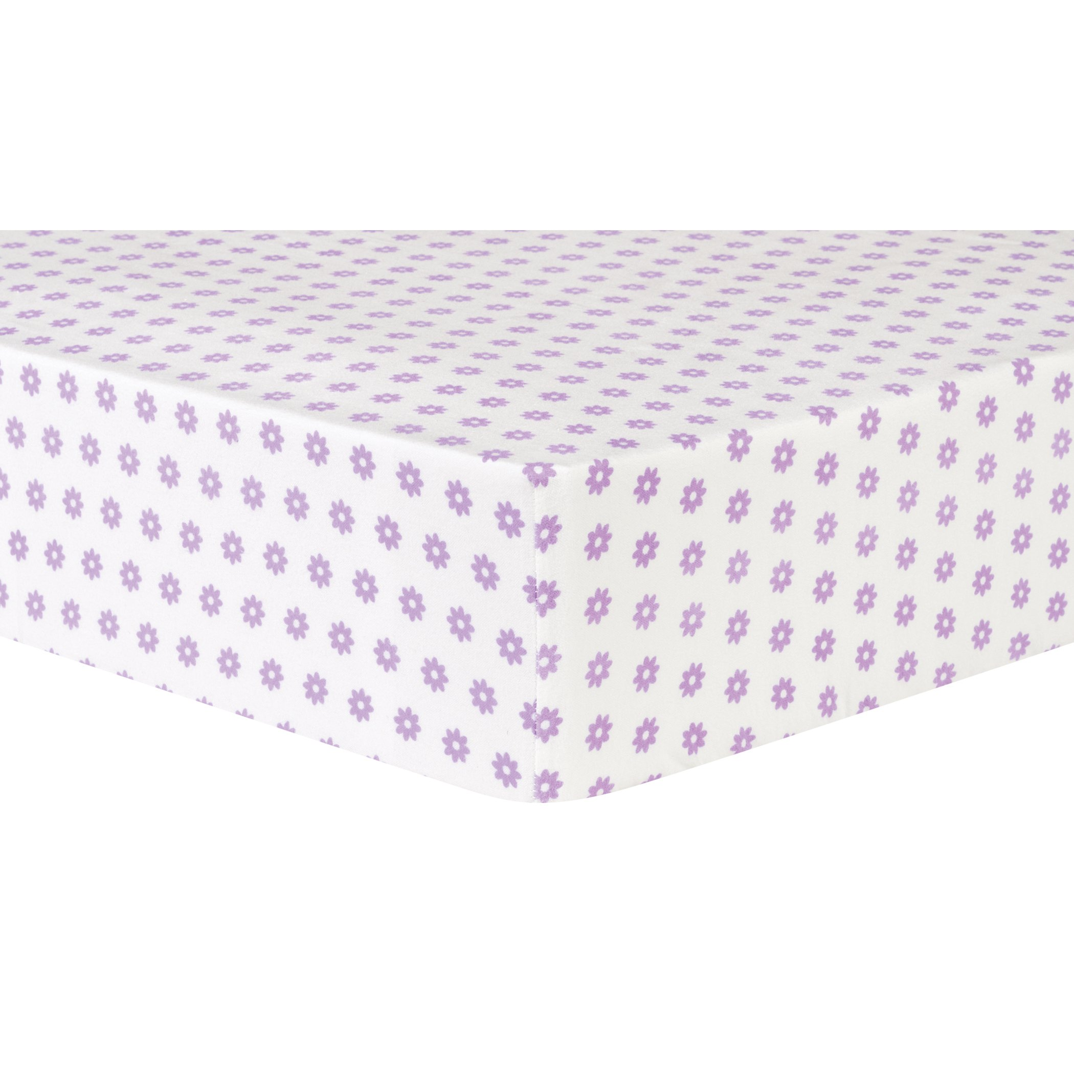 Trend Lab Lilac Flower Dot Deluxe Flannel Fitted Crib Sheet