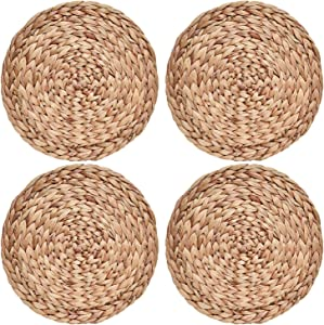 COYMOS Woven Placemats Round Set of 4, Natural Water Hyacinth Weave Placemat for Dining Table, Large Handmade Woven Placemats Heat Resistant Non-Slip 11.8 Inches(30cm)