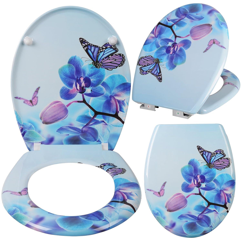 EUGAD 0050MTG-h Abattant WC Lunette de Toilette en Duroplaste Soft Close Motif Fleur et Papillon Bonde de lavabo Salle de Bain